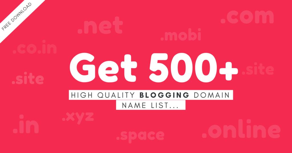 (Blogging) Domain Name Ideas list Free PDF