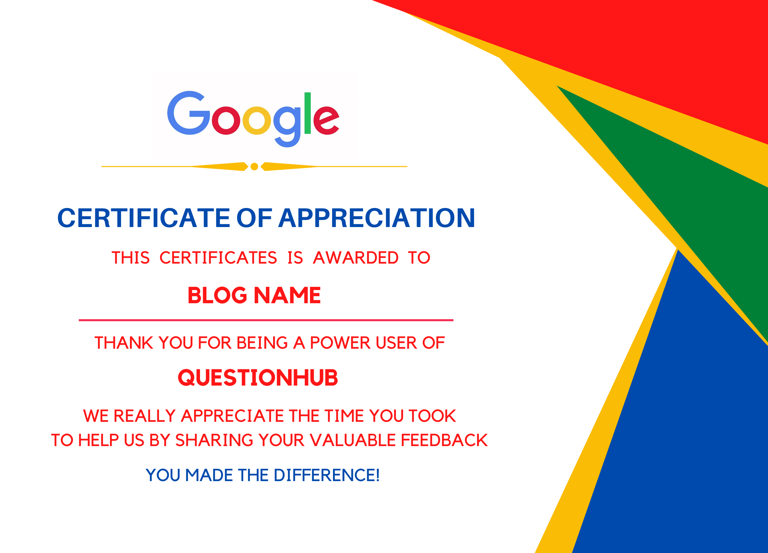 google question hub certificate