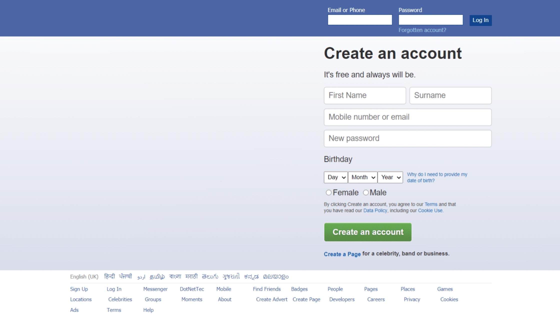 Facebook Login Page Html Code